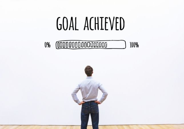 Man looking his goal achieved